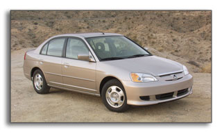 2003 Honda Civic Hybrid: 46 / 51 MPG - manual, 48  / 47 - CVT