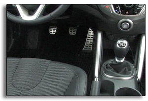 2012 Hyundai Veloster - interior with pedals, shifter, seat
