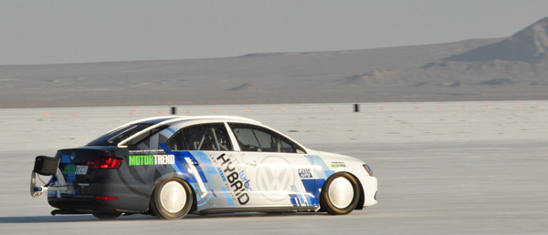 Record-setting 2013 Volkswagen Jetta Hybrid at the Bonneville Salt Flats