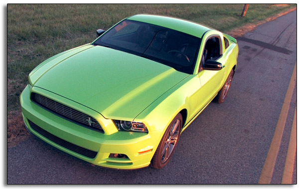 2013 Ford Mustang V6 Premium - Gotta Have It Green - front view from above
