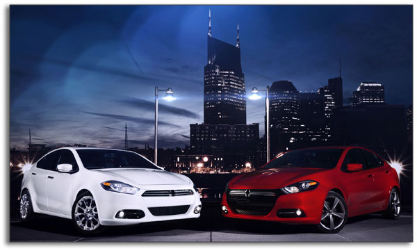 2013 Dodge Dart - red and black - profile view