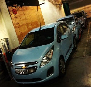 Spark EVs charging in the basement of the Portland Klimpton Hotel