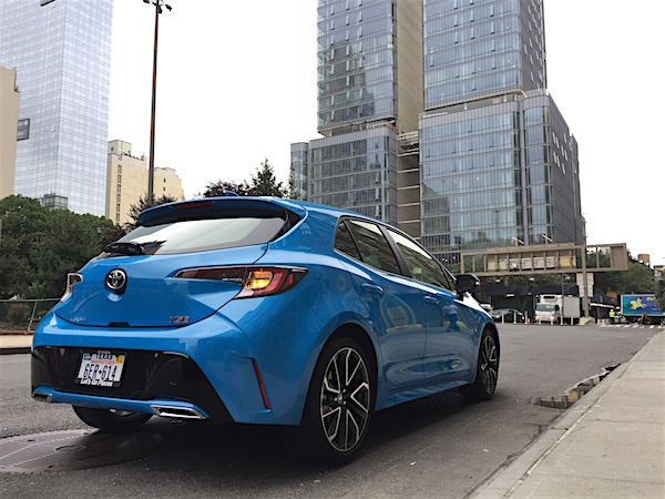 2019 Toyota Corolla Hatchback Review - rear 3/4 view - NYC